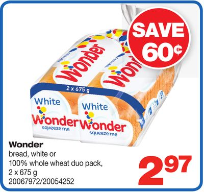Wonder Bread - White Or 100% Whole Wheat Duo Pack - 2 X 675 G