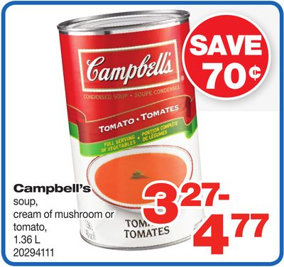 Campbell's Soup - Cream Of Mushroom Or Tomato - 1.36 L