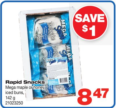 Rapid Snacks Mega Maple Or Honey Iced Buns - 142 g