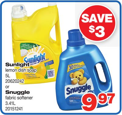 Sunlight Lemon Dish Soap 5l Or Snuggle Fabric Softener 3.41l
