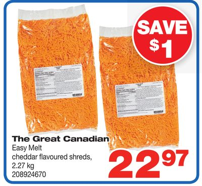 The Great Canadian Easy Melt Cheddar Flavoured Shreds - 2.27 Kg