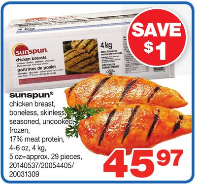 Sunspun Chicken Breast - 4-6 Oz - 4 Kg