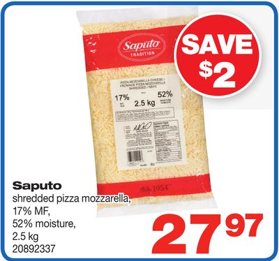 Saputo Shredded Pizza Mozzarella - 2.5 Kg