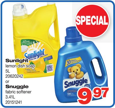Sunlight Lemon Dish Soap. 5l Or Snuggle Fabric Softener - 3.41l