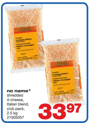 No Name Shredded 4-cheese - Italian Blend - 2.5 Kg