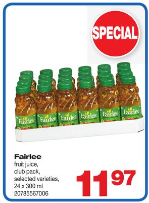 Fairlee Fruit Juice.24 X 300 ml