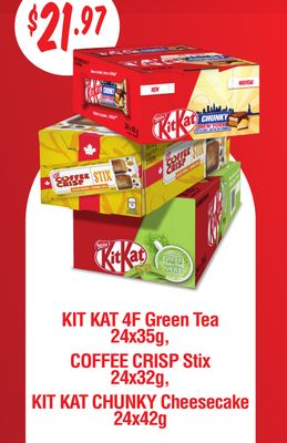 Kit Kat 4f Green Tea 24x35g - Coffee Crisp Stix 24x32g - Kit Kat Chunky Cheesecake 24x42g