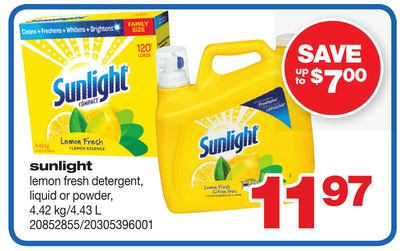 Sunlight Lemon Fresh Detergent - Liquid Or Powder - 4.42 Kg/4.43 L