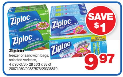 Ziploc Freezer Or Sandwich Bags - 4 X 90 Ct/3 X 28 Ct/3 X 38 Ct