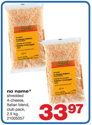 No Name Shredded 4-cheese - 2.5 Kg