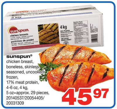 Sunspun Chicken Breast - 4-6 Oz - 4 Kg - 5 Oz=approx. 29 Pieces