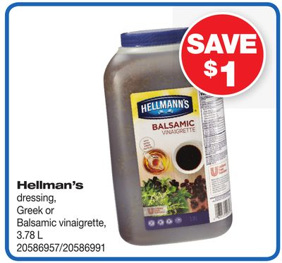 Hellman's Dressing - Greek Or Balsamic Vinaigrette - 3.78 L