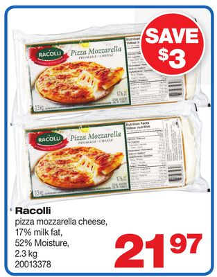 Racolli Pizza Mozzarella Cheese - 17% Milk Fat - 52% Moisture - 2.3 Kg