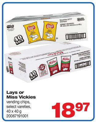 Lays Or Miss Vickies Vending Chips - 40 X 40 g