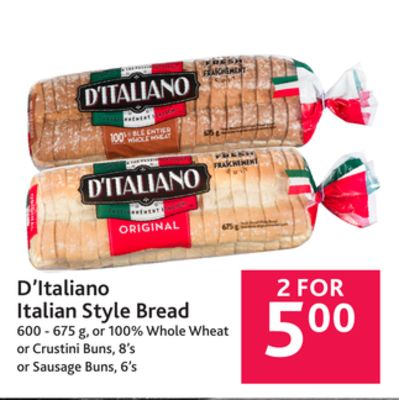 D'italiano Italian Style Bread 600 - on sale | Salewhale.ca