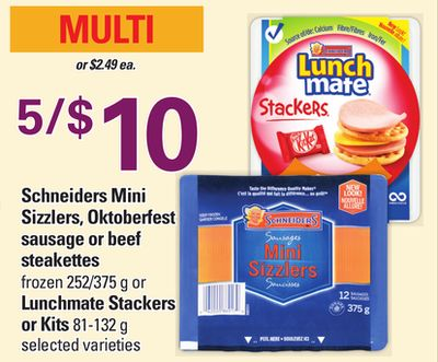 Schneiders Mini Sizzlers - Oktoberfest Sausage Or Beef Steakettes - 252/375 g Or Lunchmate Stackers Or Kits - 81-132 g