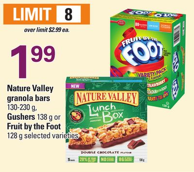 Nature Valley Granola Bars - 130-230 g - Gushers 138 g Or Fruit By The Foot - 128 g