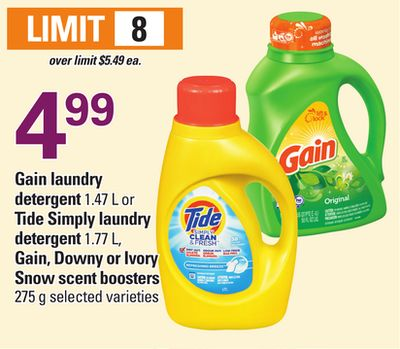Gain Laundry Detergent 1.47 L Or Tide Simply Laundry Detergent 1.77 L - Gain - Downy Or Ivory Snow Scent Boosters 275 G