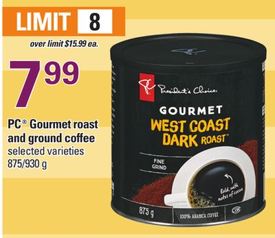 PC Gourmet Roast And Ground Coffee - 875/930 g