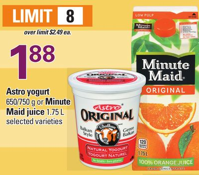 Astro Yogurt - 650/750 g or Minute Maid Juice - 1.75 L