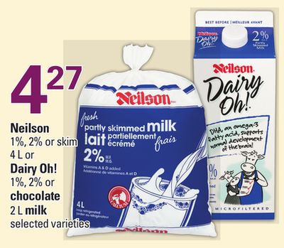 Neilson 1% - 2% or Skim 4 L or Dairy Oh! 1% - 2% Or Chocolate 2 L Milk