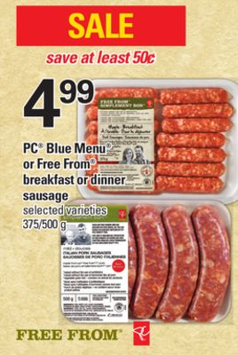 PC Blue Menu Or Free From Breakfast Or Dinner Sausage - 375/500 g