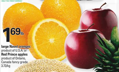 Large Navel Oranges - Red Prince Apples