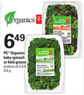 PC Organics Baby Spinach Or Field Greens - 312 g