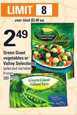 Green Giant Vegetables Or Valley Selections - 300-750 g