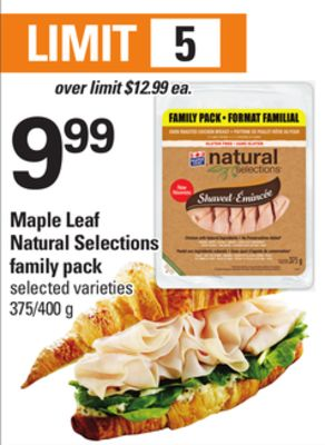 Maple Leaf Natural Selections Family Pack - 375/400 g
