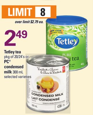Tetley Tea - Pkg of 20/24's Or PC Condensed Milk - 300 mL