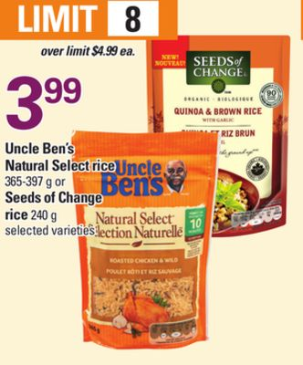 Uncle Ben's Natural Select Rice - 365-397 g or Seeds Of Change Rice - 240 g