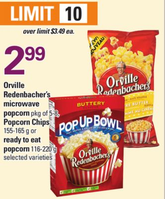 Orville Redenbacher's Microwave Popcorn Pkg of 5-8 - Popcorn Chips 155-165 g Or Ready To Eat Popcorn 116-220 g