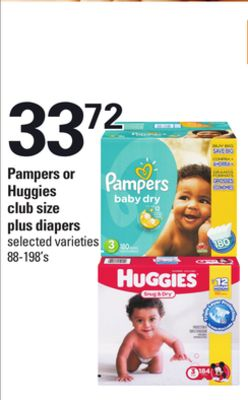 Pampers Or Huggies Club Size - 88-198's