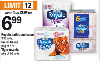 Royale Bathroom Tissue - 9/12 Rolls - Facial Tissue - Pkg of 6 or Tiger Towels - Pkg of 2/6 Rolls
