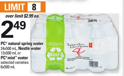 PC Natural Spring Water - 24x500 mL - Nestlé Water - 12x500 mL Or PC Mist Water - 6x500 mL