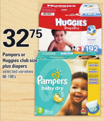 Pampers Or Huggies Club Size Plus Diapers - 88-198's