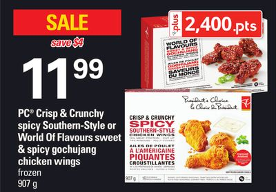 PC Crisp & Crunchy Spicy Southern-style Or World Of Flavours Sweet & Spicy Gochujang Chicken Wings - 907 g