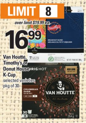 Van Houtte - Timothy's Or Donut House K-cup - Pkg of 30