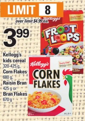 Kellogg's Kids Cereal - 320-425 g - Corn Flakes - 680 g - Raisin Bran - 425 g or Bran Flakes - 670 g