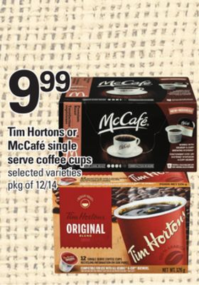 Tim Hortons Or Mccafé Single Serve Coffee Cups - Pkg of 12/14