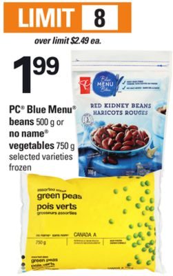 PC Blue Menu Beans - 500 G Or No Name Vegetables - 750 G