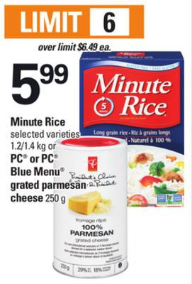 Minute Rice - 1.2/1.4 Kg PC Or PC Blue Menu Grated Parmesan Cheese - 250 G