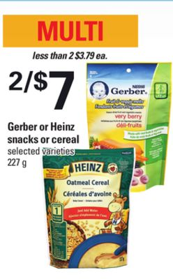 Gerber Or Heinz Snacks Or Cereal - 227 g