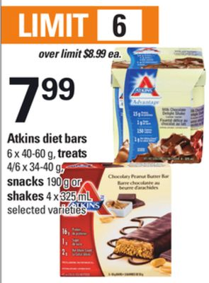 Atkins Diet Bars - 6 X 40-60 Gtreats - 4/6 X 34-40 g - Snacks - 190 g or Shakes - 4 X 325 mL