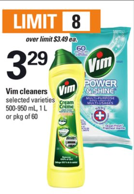 Vim Cleaners - 500-950 mL - 1 L or Pkg of 60
