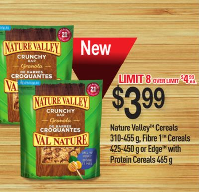 Nature Valley Cereals 310-455 G - Fibre 1tm Cereals 425-450 G Or Edge With Protein Cereals 465 G