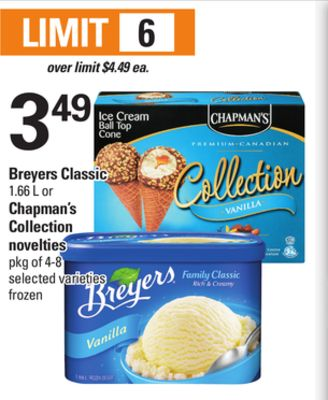 Breyers Classic - 1.66 L Or Chapman's Collection Novelties - Pkg of 4-8