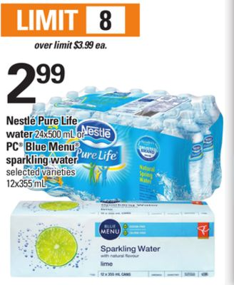 Nestlé Pure Life Water - 24x500 Ml Or PC Blue Menu Sparkling Water - 12x355 mL