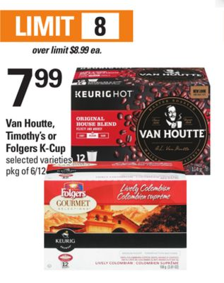 Van Houtte - Timothy's Or Folgers K-cup - Pkg of 6/12